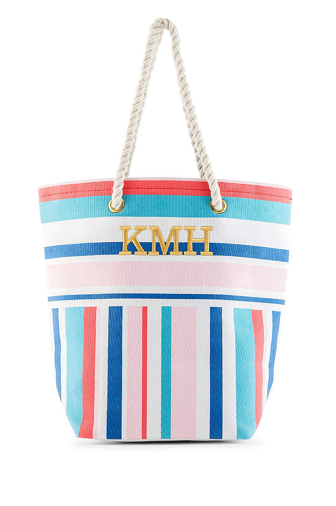 Personalized Bright Stripes Canvas Tote