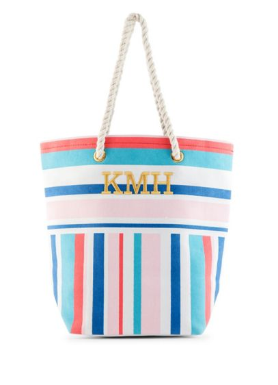 Personalized Bright Stripes Canvas Tote - Horizontal and vertical stripes in bright blues, coral,