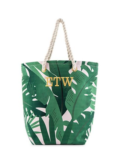 Green (Personalized Tropical Leaf Print Canvas Tote)