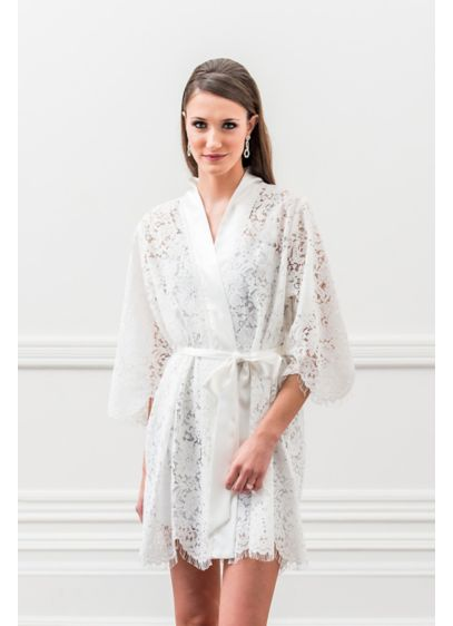 White Bridal Lace Robe Wedding Gifts Decorations