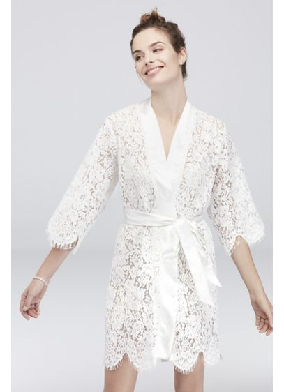 White Bridal Lace Robe - Wedding Gifts & Decorations