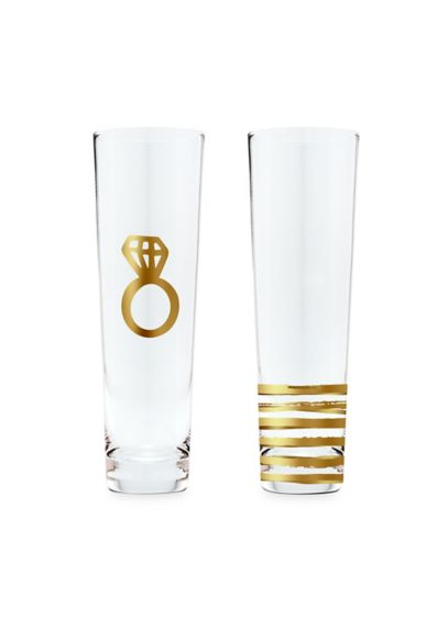 Stemless Toasting Champagne Engagement Flute Set - Get wedding day ready with this beautiful stemless