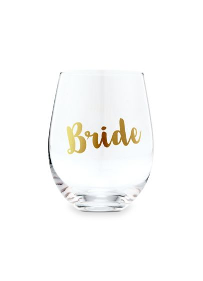 Bride Stemless Toasting Wine Glass - Get wedding day ready with this beautiful stemless