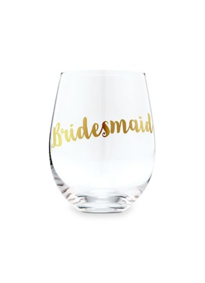 Bridesmaid Stemless Toasting Wine Glass - Get wedding day ready with this beautiful stemless