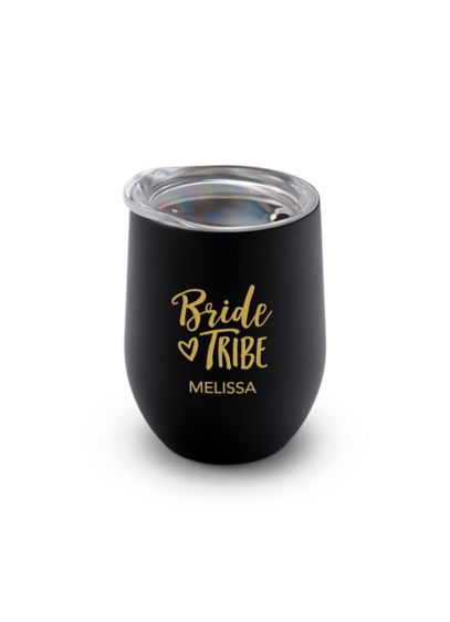 Personalized Bride Tribe Stemless Travel Tumbler - This personalized lidded insulated stemless wine glass tumbler