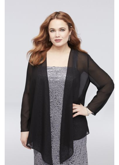 Chiffon Plus Size Jacket with Asymmetrical Hem - This long-sleeve chiffon plus-size jacket is an elegant