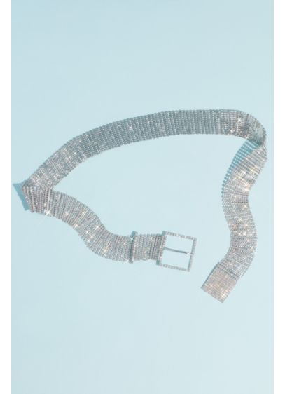 Mesh Crystal Rows Belt with Buckle - Wedding Accessories