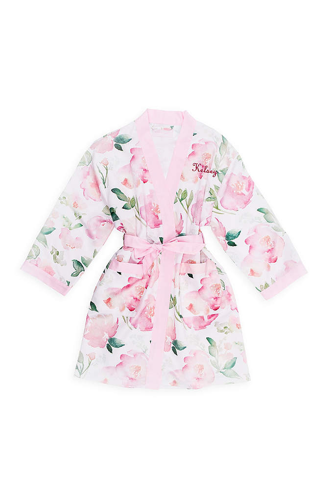 Personalized Pink Floral Tween Silky Kimono Robe - Say thank you to your Junior Bridesmaid with