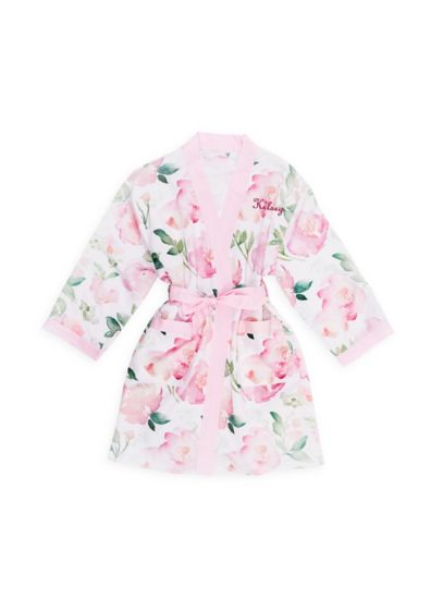 Personalized Pink Floral Tween Silky Kimono Robe - Wedding Gifts & Decorations