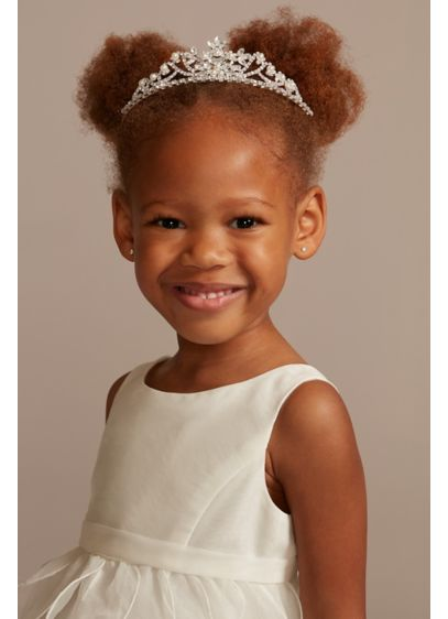 David's Bridal Grey (Floral Crystal and Pearl Flower Girl Tiara)