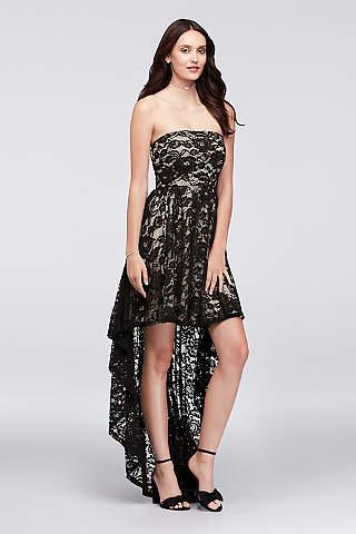 Mini Vestido de Encaje Con Falda Asimétrica