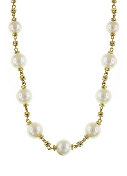 Spaced Pearl and Gold Beaded Necklace - Wedding Accessories