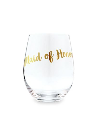 Maid of Honor Stemless Toasting Wine Glass - Get wedding day ready with this beautiful stemless