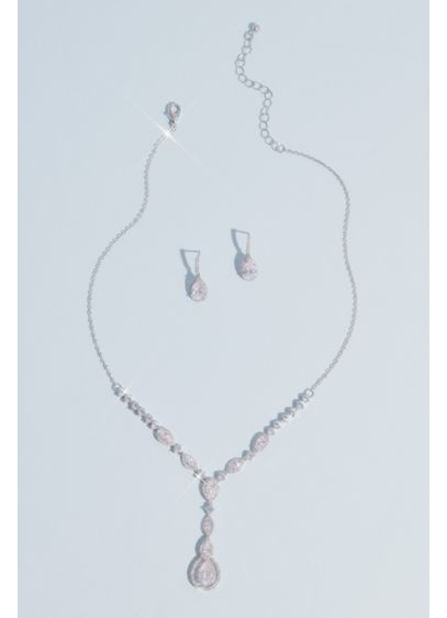 David's Bridal Grey (Teardrop Cut Pendant Necklace and Earring Set)