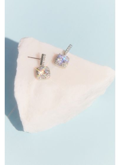 Statement Crystal Stud Earrings with Pave Halo - Wedding Accessories