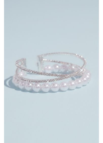 Crossed Rhinestone and Pearl Stacked Cuff Bracelet - Wedding Accessories