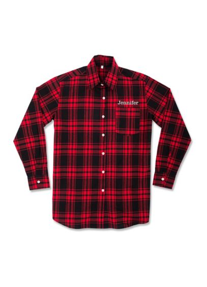 Personalized Embroidered Plaid Button Down Shirt - This lightweight personalized flannel sleep shirt makes for