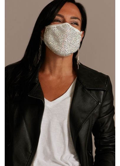 Crystal Cloth Face Mask with Adjustable Ear Loops - Covered in shimmering crystals, this adjustable-loop face mask