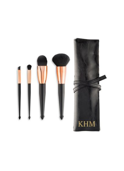 Black (Personalized Makeup Brush Set and Roll Pouch)