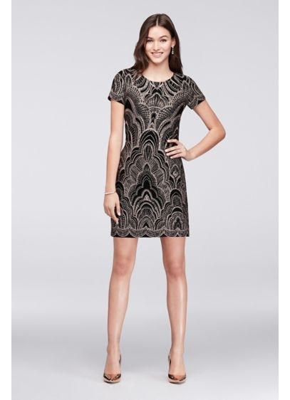 Glitter Motiff Print Cap Sleeve Mini Dress - Topped with a glitter motif, this slinky cap-sleeve