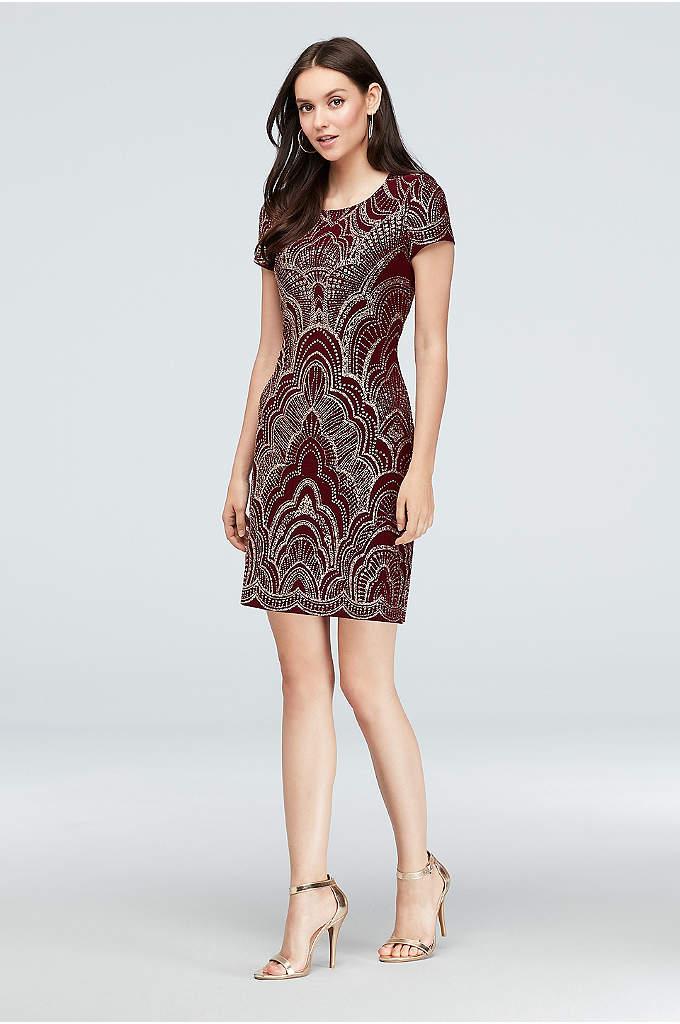 Glitter Motiff Print Cap Sleeve Mini Dress