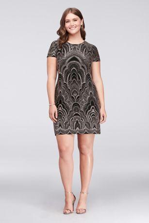 Glitter Motif Cap Sleeve Plus Size Mini Dress | David\'s Bridal