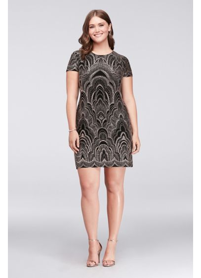Glitter Motif Cap Sleeve Plus Size Mini Dress - Topped with a glitter motif, this slinky cap-sleeve