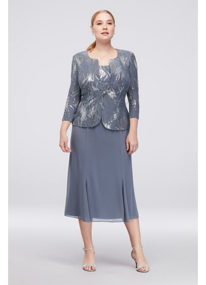 Sequin Burst Plus Size Tea-Length Dress and Jacket - With the look of a three-piece ensemble and
