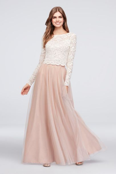 Dotted Glitter Lace Top And Tulle Skirt Set David S Bridal