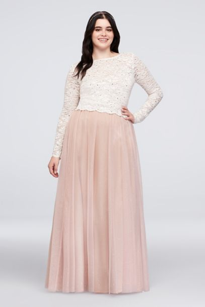 Dotted Lace Top And Tulle Skirt Plus Size Set David S Bridal