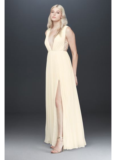 Fame and Partners Allegra Deep-V Pleated Dress - With a plunging V-neckline and crisp pleats, this
