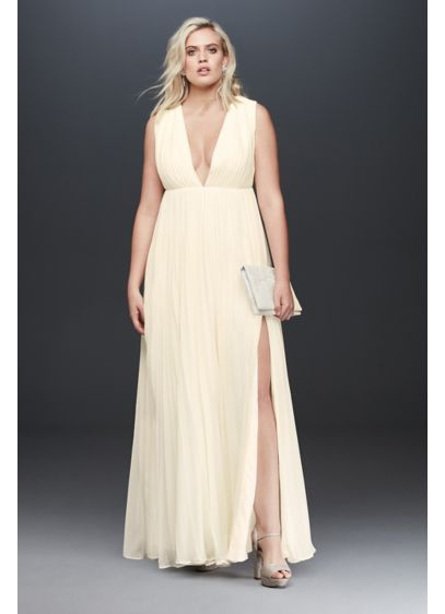 Fame and Partners Plus Size Allegra Pleated Dress - With a plunging V-neckline and crisp pleats, this