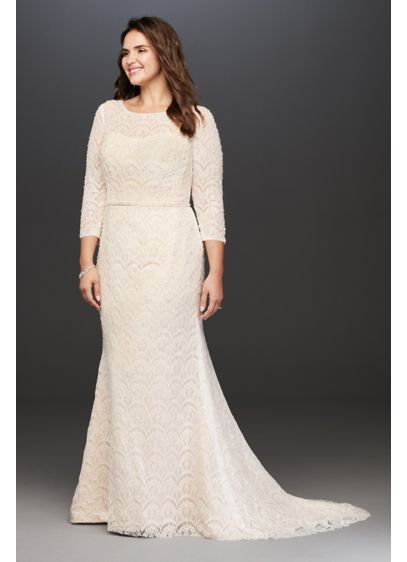 Quarter Sleeve Beaded Lace Wedding Dress | David\'s Bridal