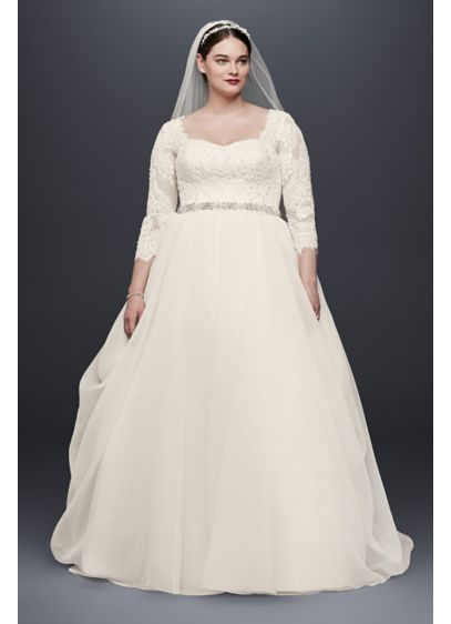 Oleg Cassini Plus Size Beaded Lace Wedding Dress