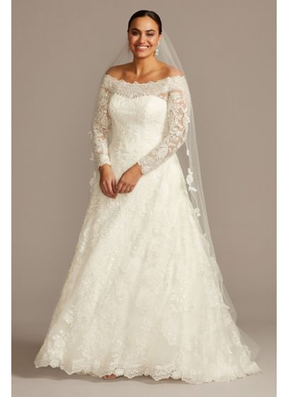 Off-The-Shoulder Plus Size Beaded Wedding Dress | David\'s Bridal