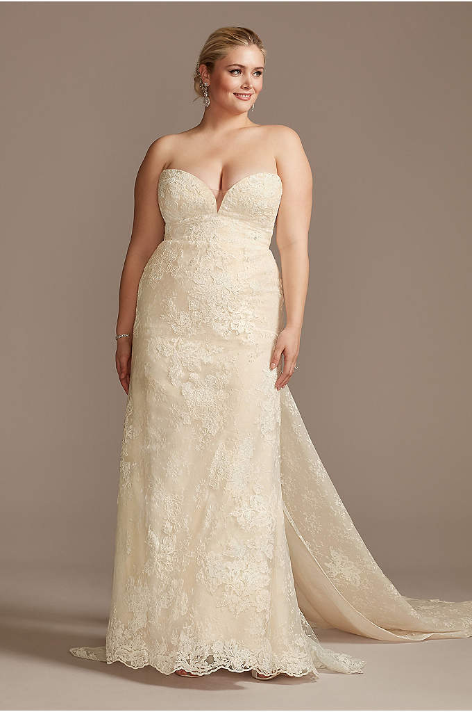 Lace Removable Bow Train Tall Plus Wedding Dress