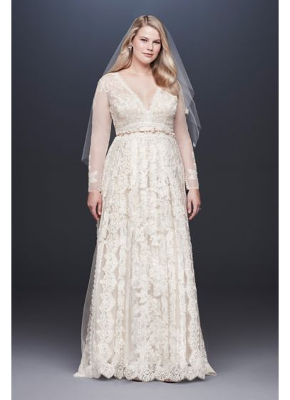 Melissa Sweet Plus Size Linear Lace Wedding Dress - Romantic lace gets a fresh take on this