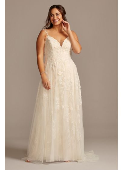 A-Line Plus Size Wedding Dress with Double Straps - Appliqued with pearl-centered blush flowers, this scalloped-bodice gown