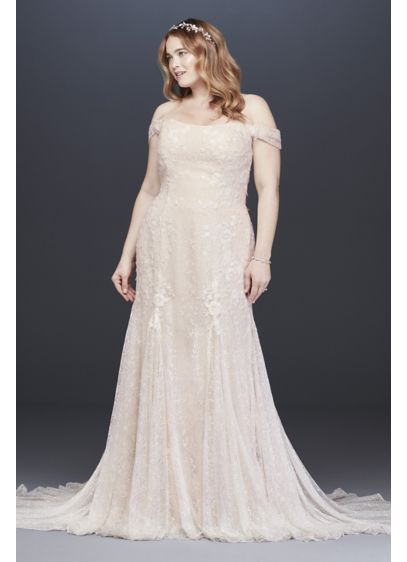 Layered Lace Swag Sleeve Plus Size Wedding Dress - Embrace romance in this soft trumpet wedding dress,