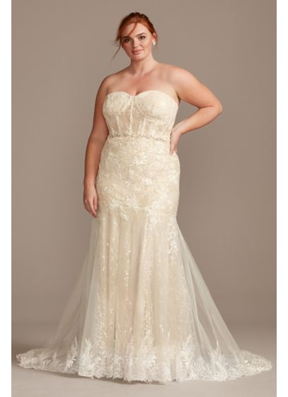 Embellished Lace Corset Tall Plus Wedding Dress - Embellished with embroidered appliques and sequins, this lace