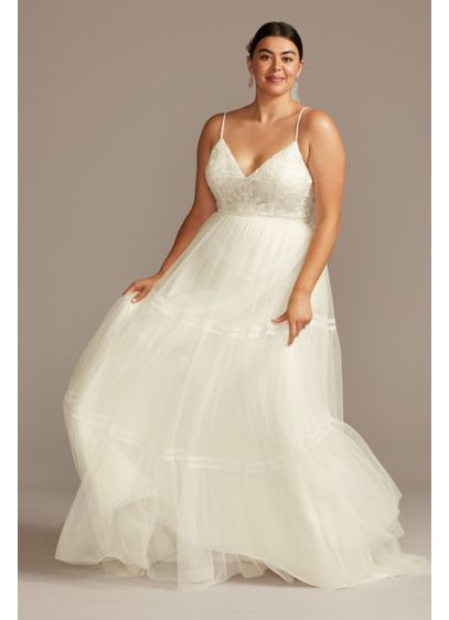 Corset Tiered Chiffon Tall Plus Wedding Dress - The boho-inspired bride will find it hard to