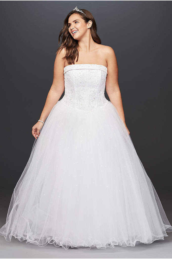 Beaded Satin and Tulle Plus Size Wedding Dress