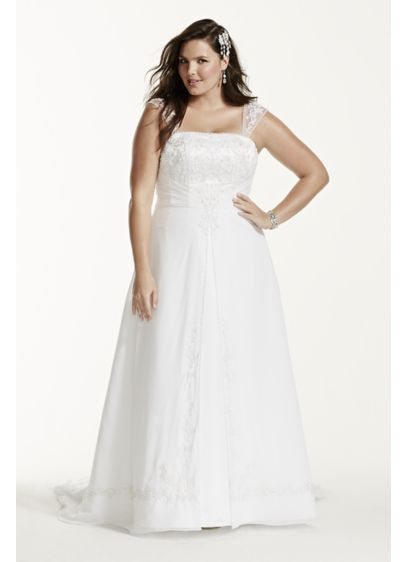 Detachable Cap Sleeves 4xl9ntv9010 Long A Line Formal Wedding Dress David S Bridal Collection