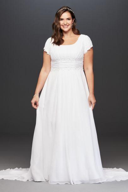 Short Sleeve Plus Size Wedding Dress With Ruching David S Bridal