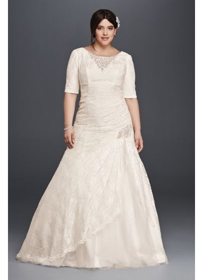 Lace Plus Size Wedding Dress with Elbow Sleeves - Slip an elegant comb in your hair and
