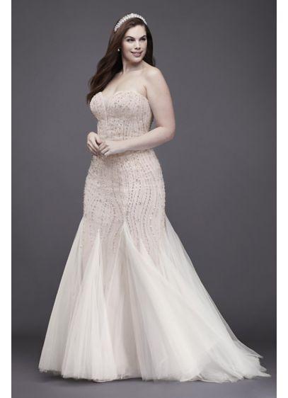 Beaded Tulle Plus Size Trumpet Wedding Dress | David\'s Bridal