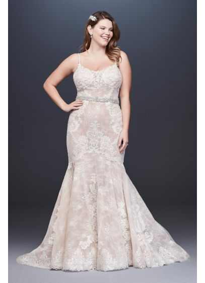 Lace Plus Size Wedding Dress with Moonstone Detail - Turn heads in this luxurious lace mermaid plus-size