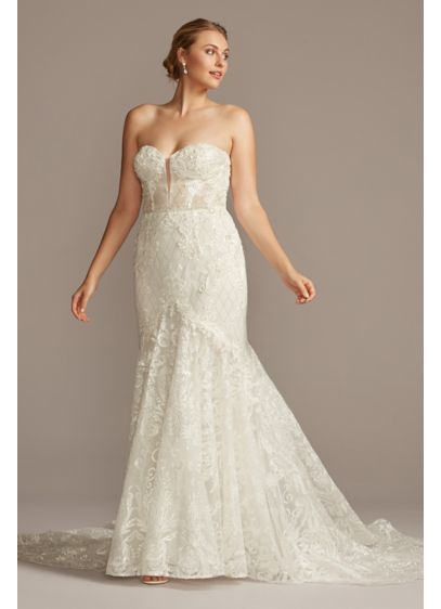Beaded Brocade Embellished Tall Plus Wedding Dress - The picture of sultry romance, this alluring wedding