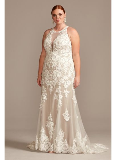 Illusion Keyhole Applique Tall Plus Wedding Dress - Feminine and romantic, this dreamy wedding dress is