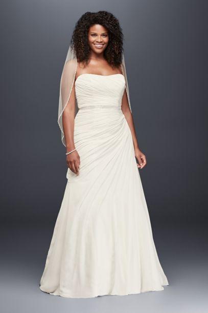 draped chiffon strapless plus size wedding dress davids